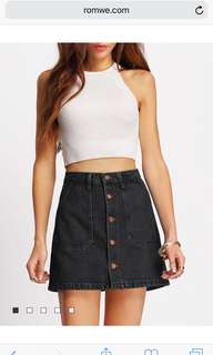 WASHED OUT BLACK & NAVY BLUE JEAN SKIRTS