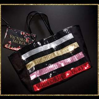 🌈(Ready Stock) Brand New Imported Victoria's Secret Bling Sequin Striped Carryall Tote and Mini Bag Set - Black Friday 2017