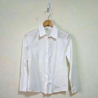 NET 純白荷葉邊長袖襯衫