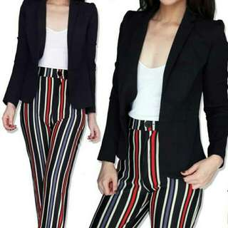 SIMPLY STYLED OPEN BLAZER BLACK CASUAL SIMPLE