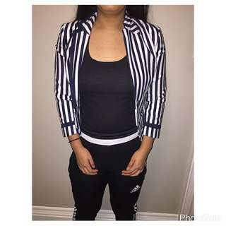 H&M White And Blue Striped Blazer