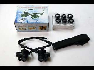 Glasses New Loupe 10X 15X 20X 25X LED Double Eye Jeweler Watch Repair Magnifying (10X 15X 20X 25X Double Eye)