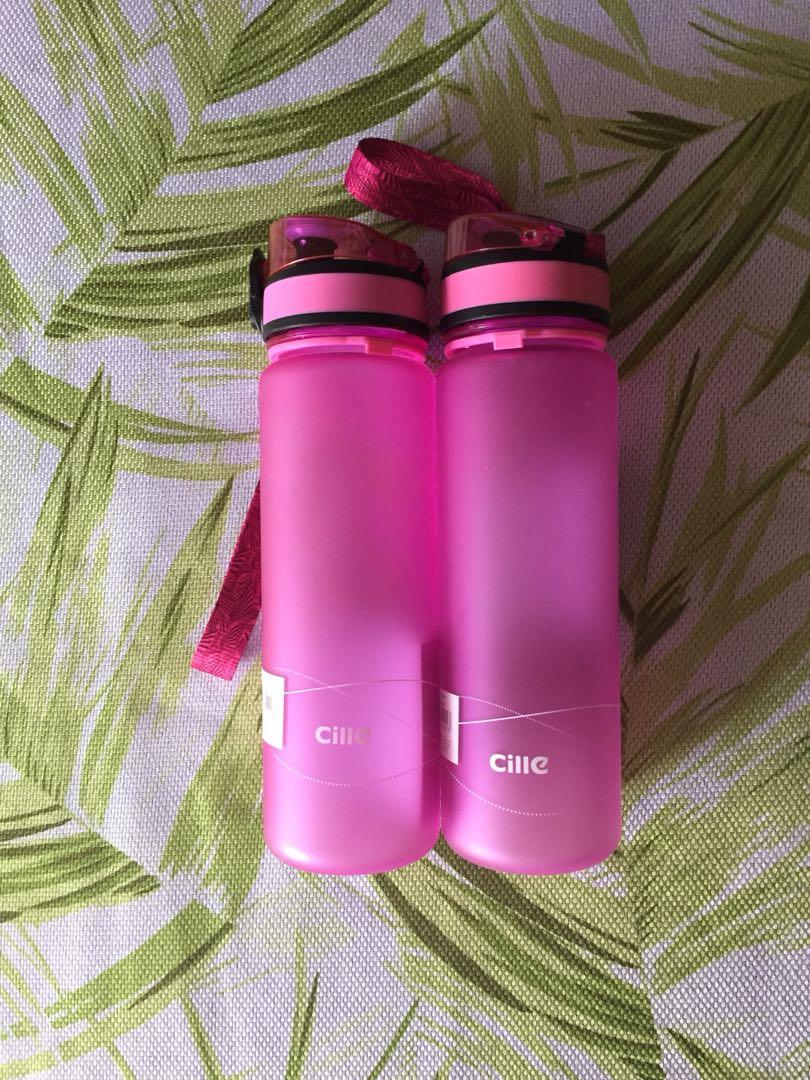 2 new drink bottles pink