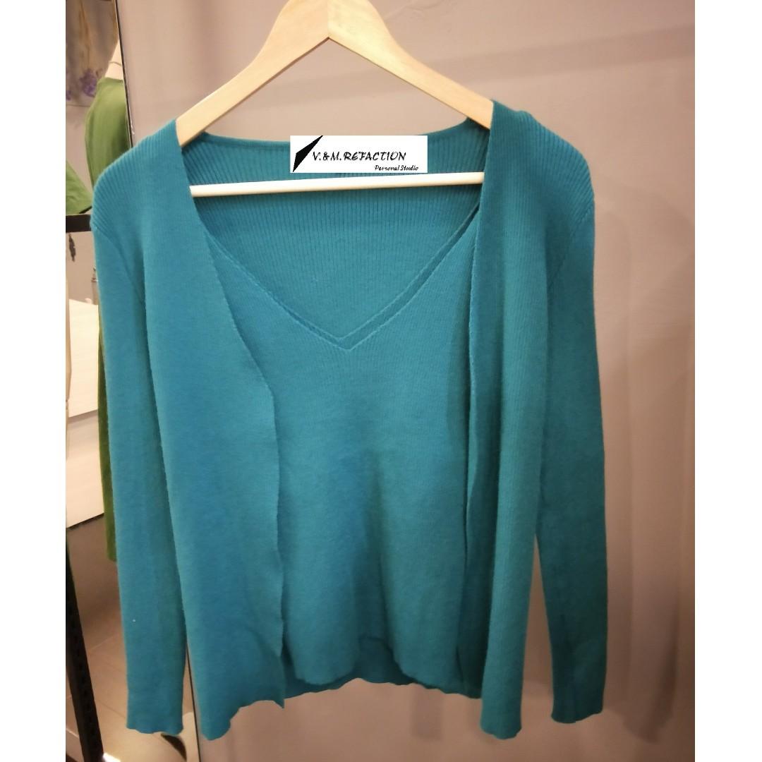 冬季現貨出清*湖藍色針織外套+背心(原價980)特價600