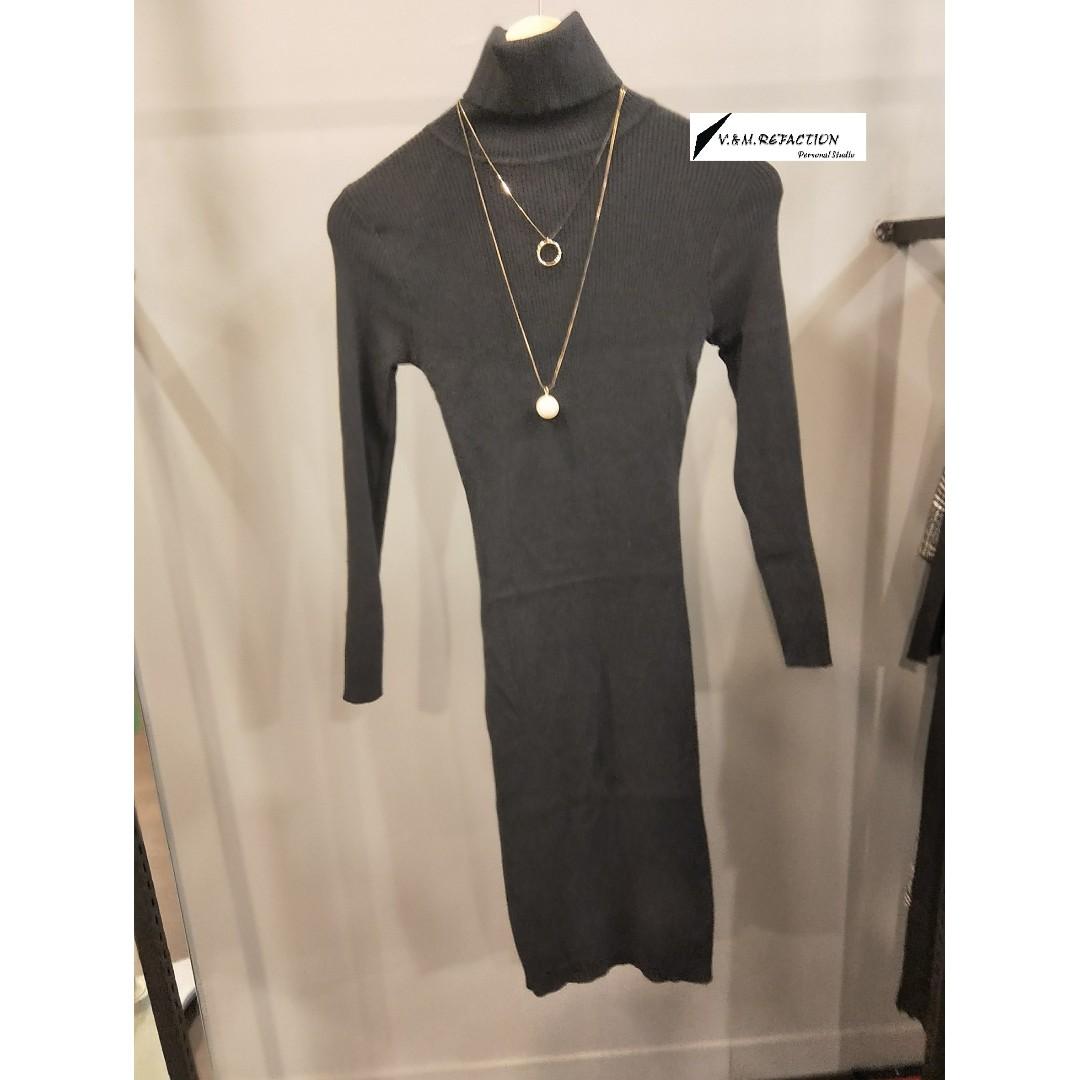 冬季現貨出清*黑色翻領彈性針織連身裙(原價980)特價600