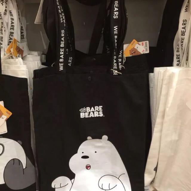 全新➿阿極黑底熊熊遇見你帆布包