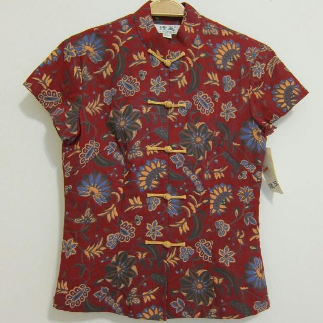 中國風旗袍領印花上衣