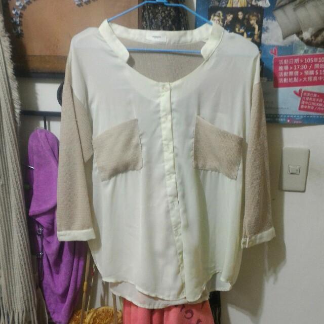 裸色網格雪紡紗襯衫