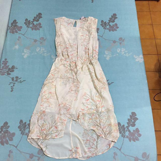 米色印花前短後長雪紡洋裝