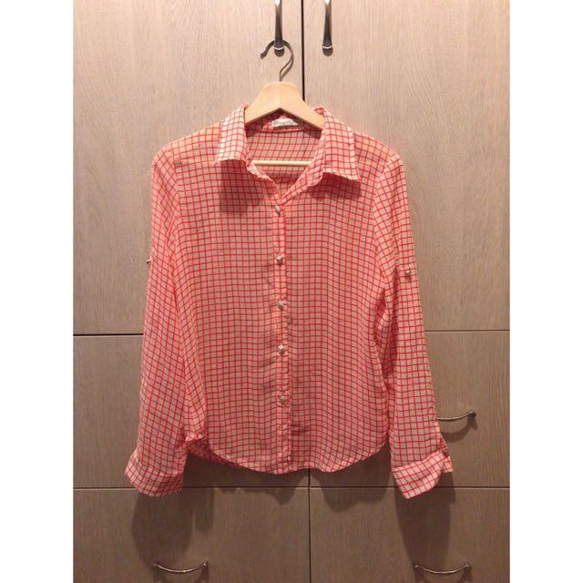 粉色 格子雪紡襯衫 有實穿照