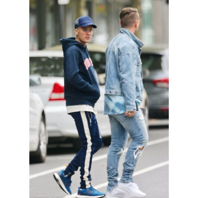 歐美 FEAR OF GOD 內側拉鍊藍白色條紋合身運動褲  小賈斯汀著用款 尺寸M