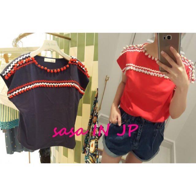 【全新】日本品牌 Lily Brown 紅色毛毛球,造型棉球衣