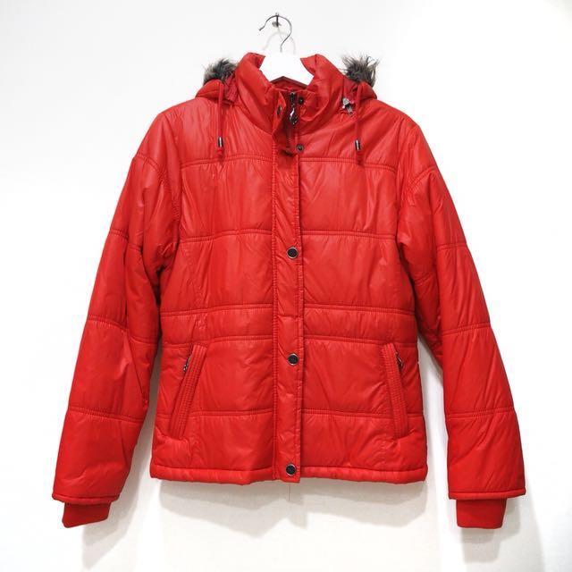 橘紅色羽絨外套 M號 #超取再七折
