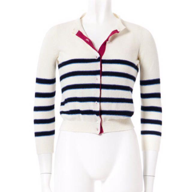 【全新】日本品牌 URAHA 米白色條紋針織外套