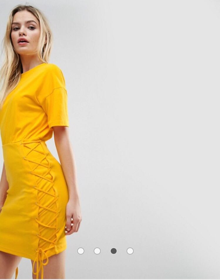 Asos Bright Yellow Laced Up Dress