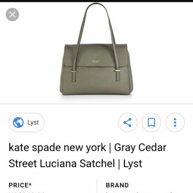 Authentic Kate Spade Gray Cedar Street Lucina bag