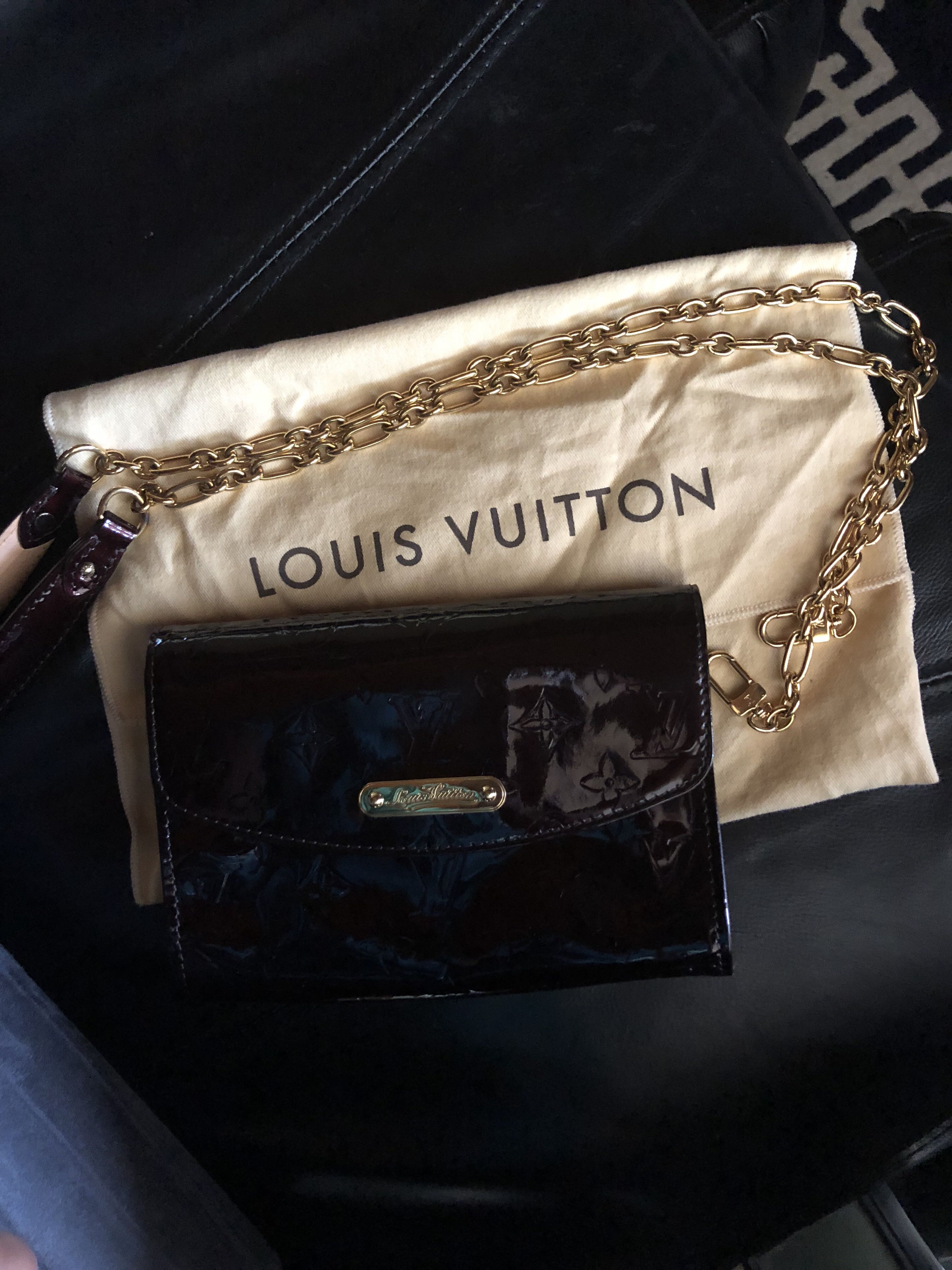 Authentic Louis Vuitton Amarante Monogram Vernis Bel Air pochette handbag
