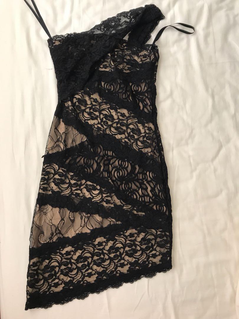 Bebe Toga asymmetrical lace dress