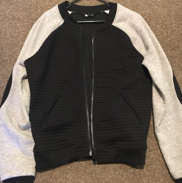 Black bomber with elbow patch