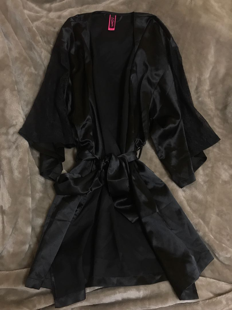 Black silk with lace robe