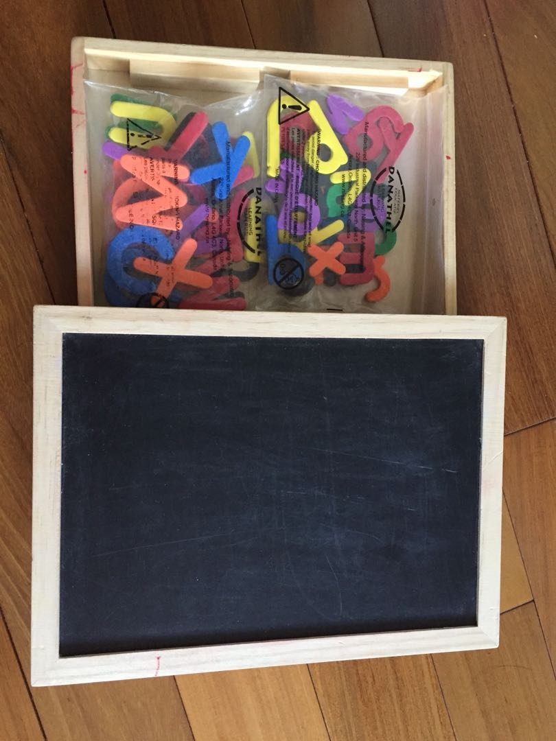 Black/Magnetic Board with Alphabet letters, Numbers