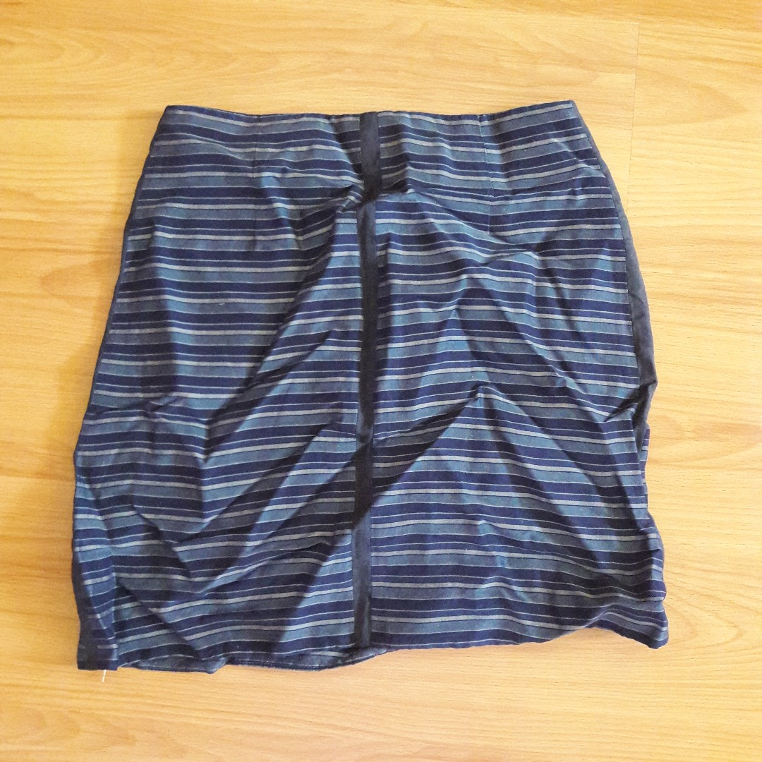 Blue striped pencil skirt