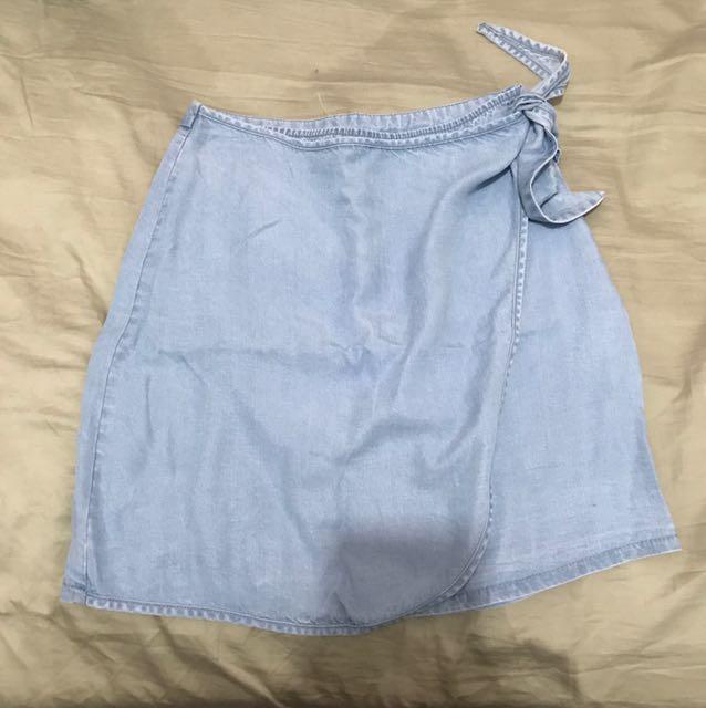 BNWT blue denim wrap skirt