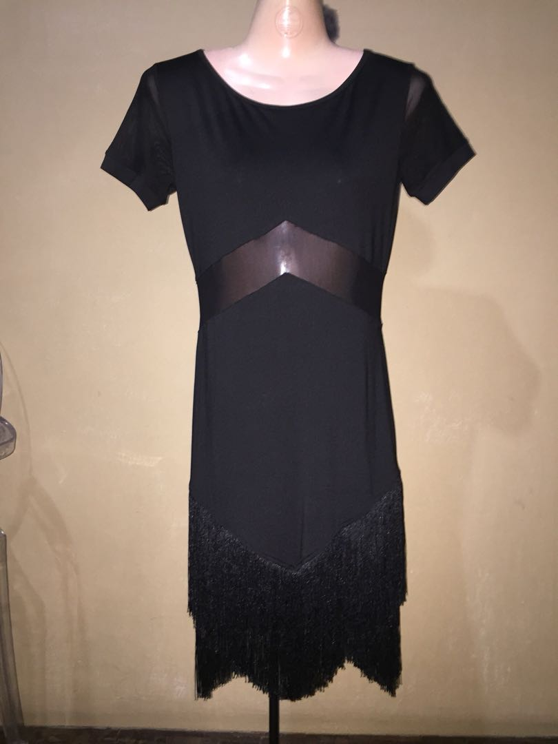 Bodycon Black Dress with fringes