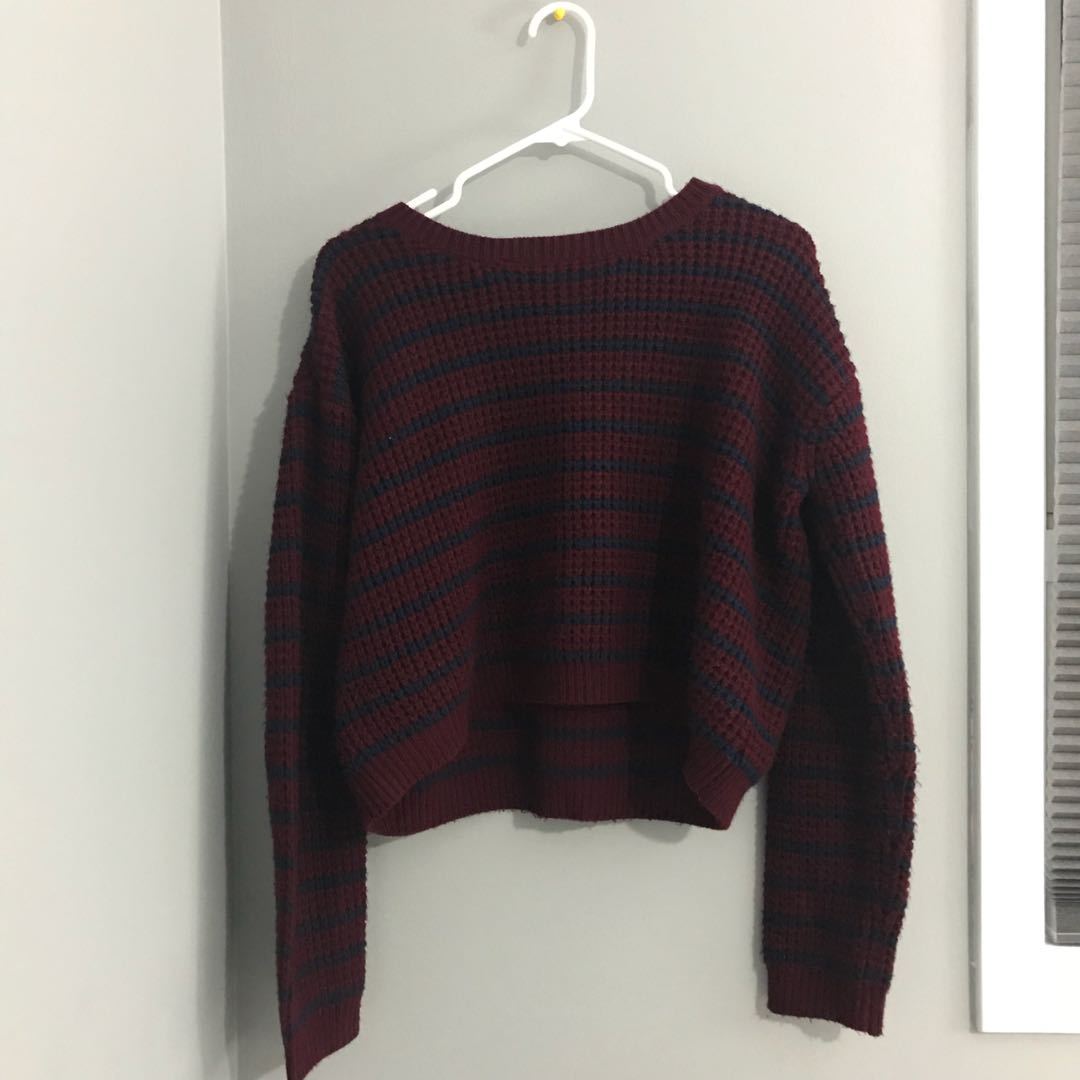 Burgundy Maroon Striped Navy Knit Cropped Sweater