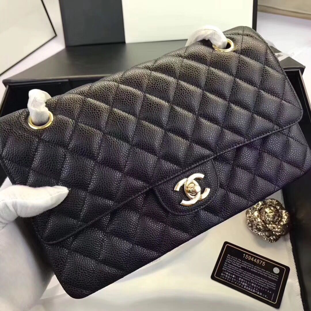 Chanel medium flap caviar ghw