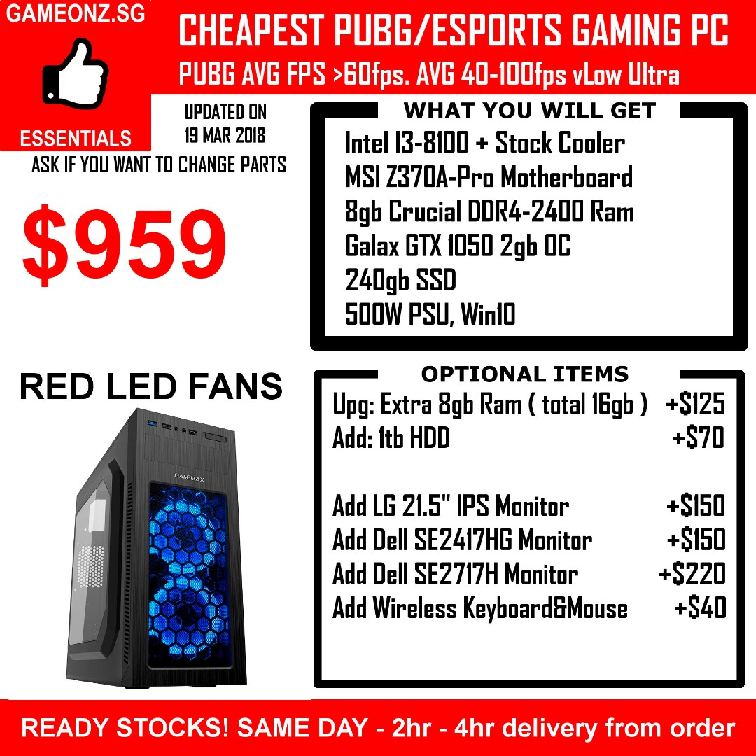 CHEAP AFFORDABLE INTEL I3-8100 ESPORTS PUBG BUDGET GAMING PC 8GB RAM