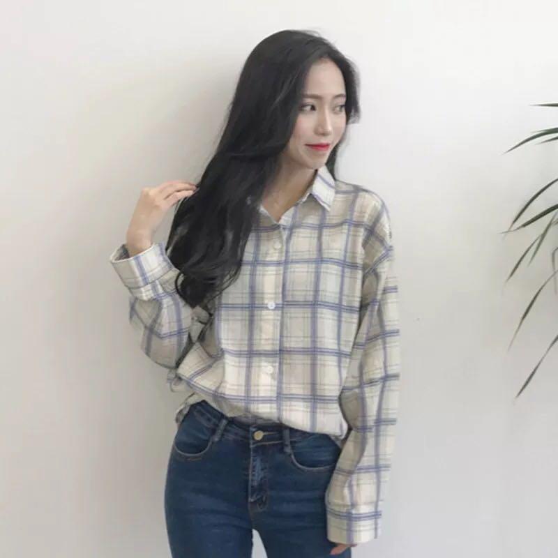 Checkered Shirt Long Sleeve Blouse