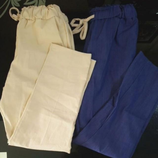 Cream/Navy Trousers