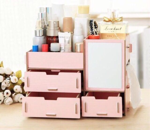 Diy wooden makeup organizer