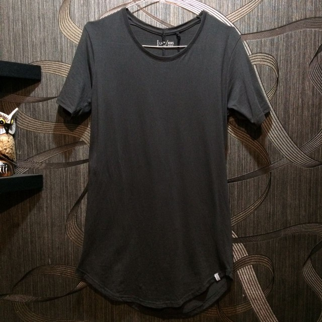 FACTORIE Longline tshirt curved design in grey