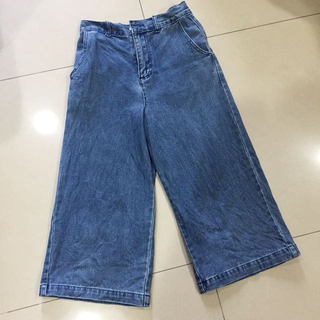 Forever21 牛仔褲 七分寬褲