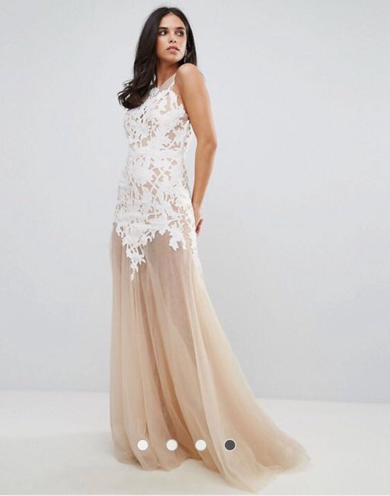8062617f278 Forever Unique Appliqué Maxi Dress with Sheer Bottom