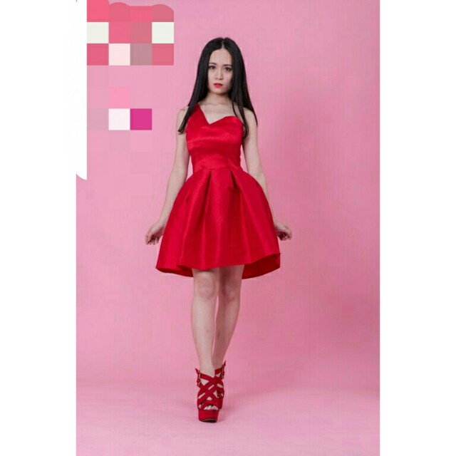 *FREE DELIVERY to WM only / Ready stock* Ladies shoulder drop dress 19244 each as shown design/color red, blk. Free delivery is applied for this item.