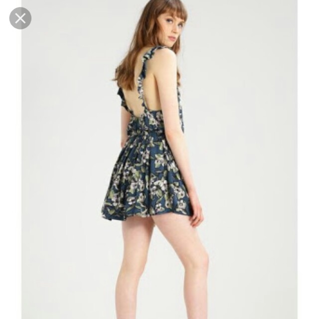 FREE PEOPLE Gypsy boho vintage floral navy dress backless low open back ruffled straps sz S NWT