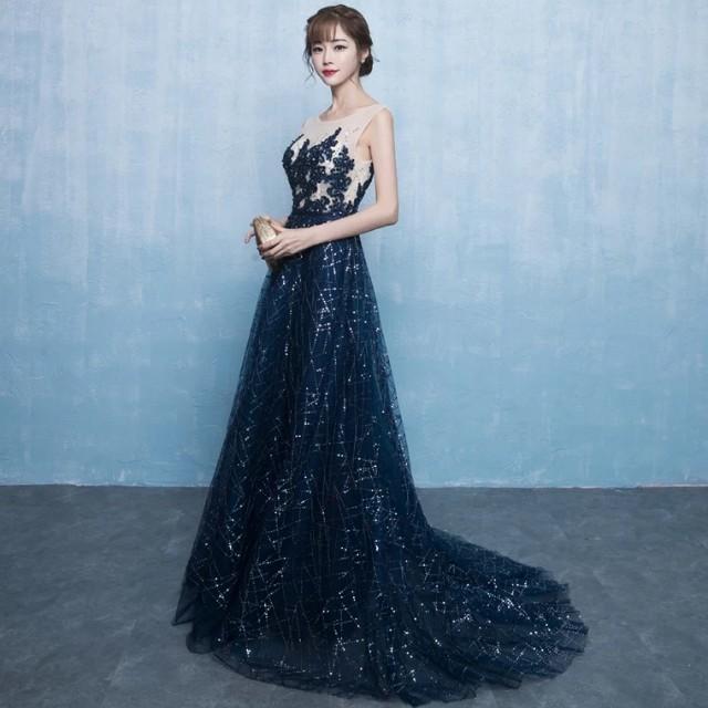 Galaxy Blue Shimmer Long Dinner Dress with Train (Rent), Fesyen ...