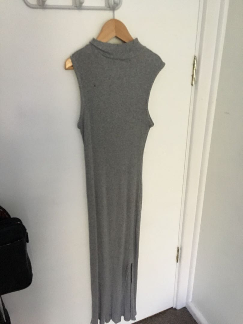 Grey bodycon high neck dress with slit at the bottom
