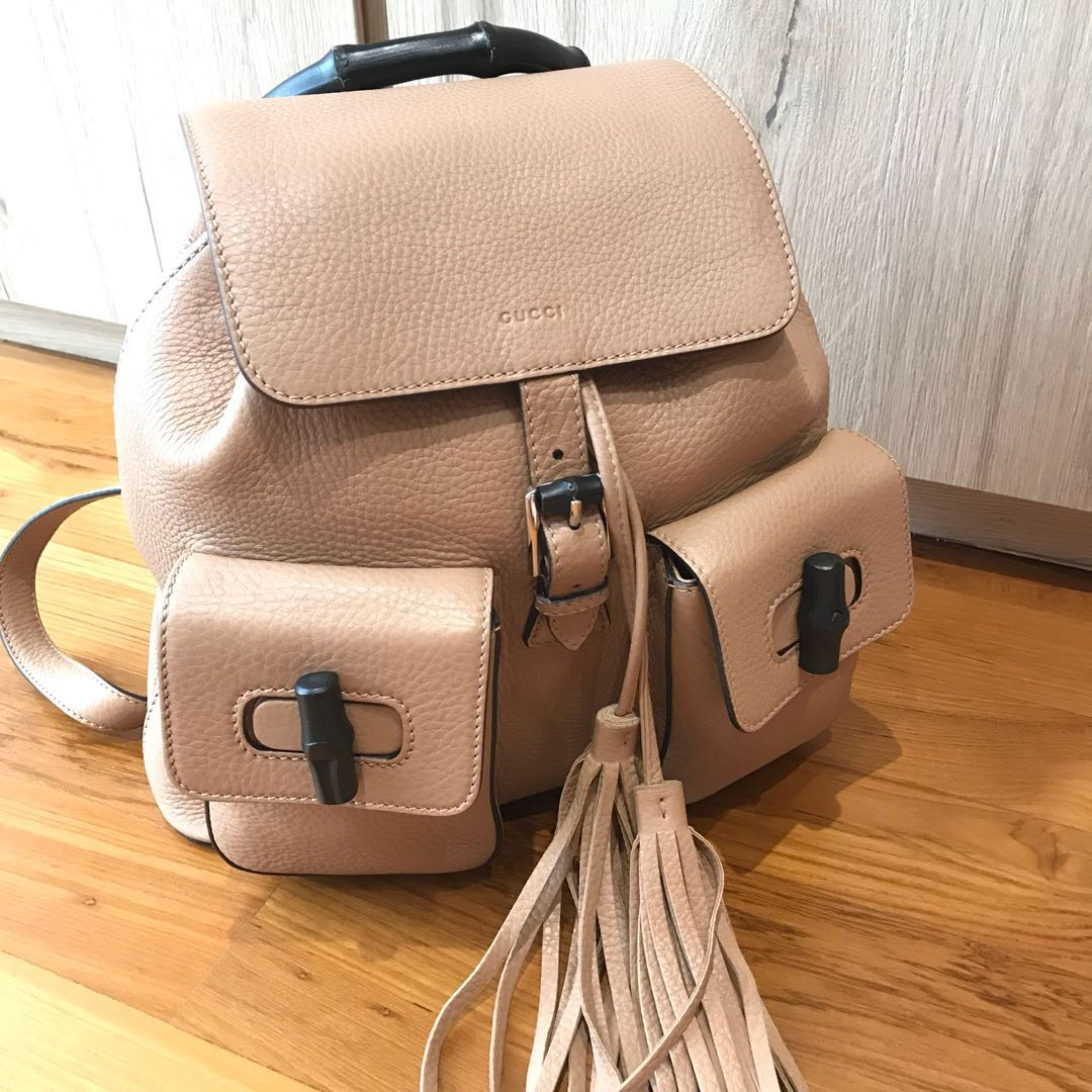 8a9dc393865 Gucci Bamboo Leather Backpack Camelia