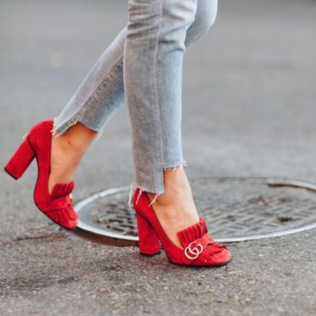 906412a15 Gucci Suede loafers pump, Women's Fashion, Women's Shoes on Carousell
