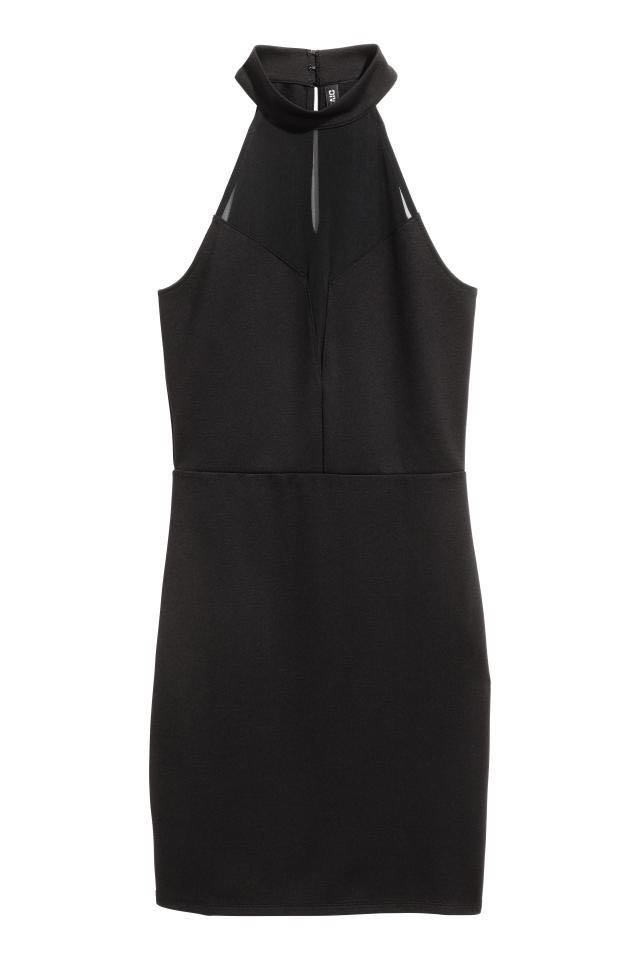 fda61a7f0cec H M black mesh bodycon dress