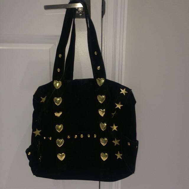 Kids Black Bag with Stars and Hearts
