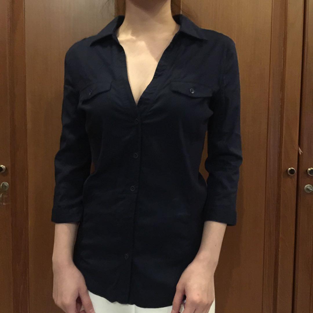 Mango Navy Shirt