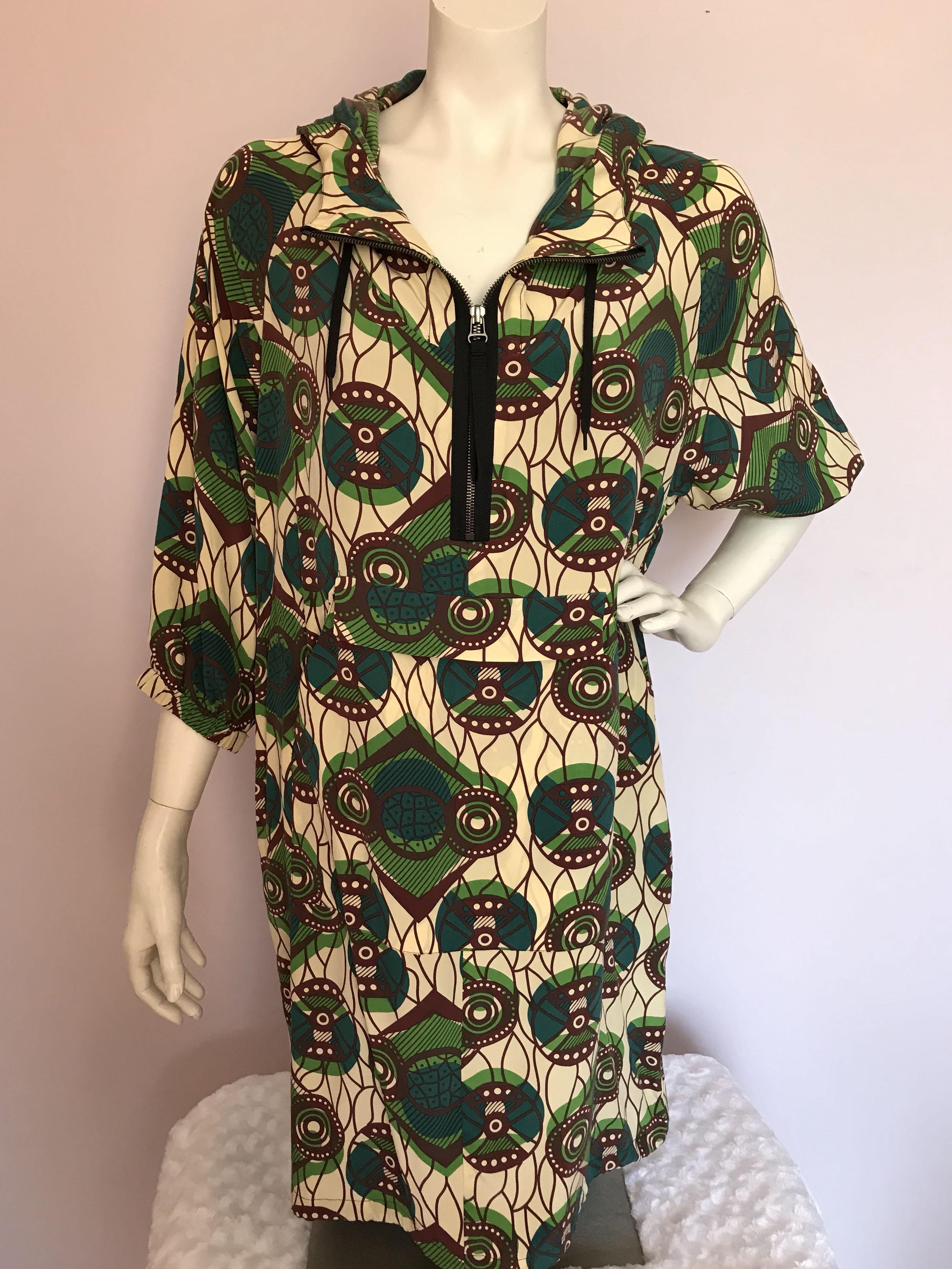 MARNI at H&M 100% Silk Hooded Dress Sz 4 Small