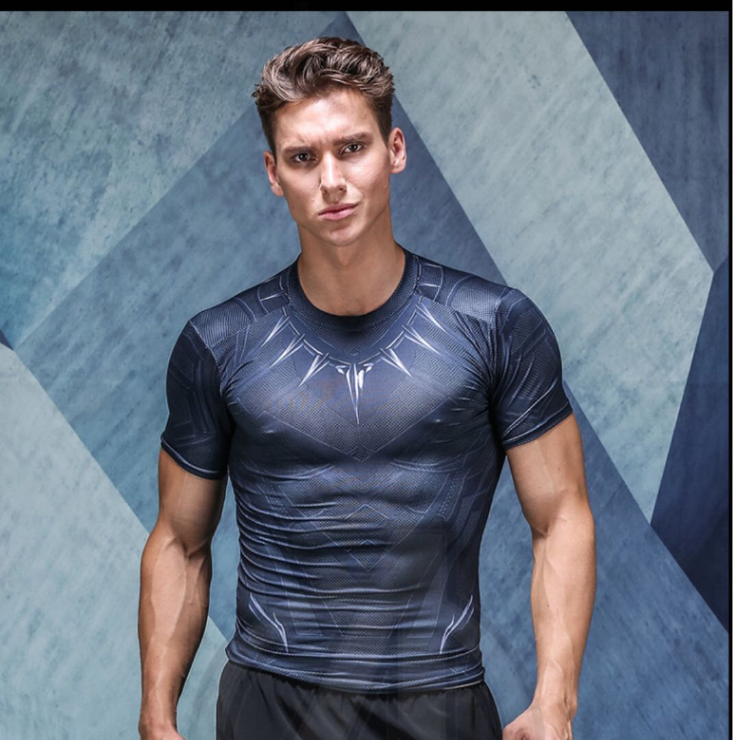 Mentalmente Amigo por correspondencia Sombreado  Marvel Black Panther Dri Fit Compression Shirt for Sports Exercise Gym,  Sports, Sports Apparel on Carousell