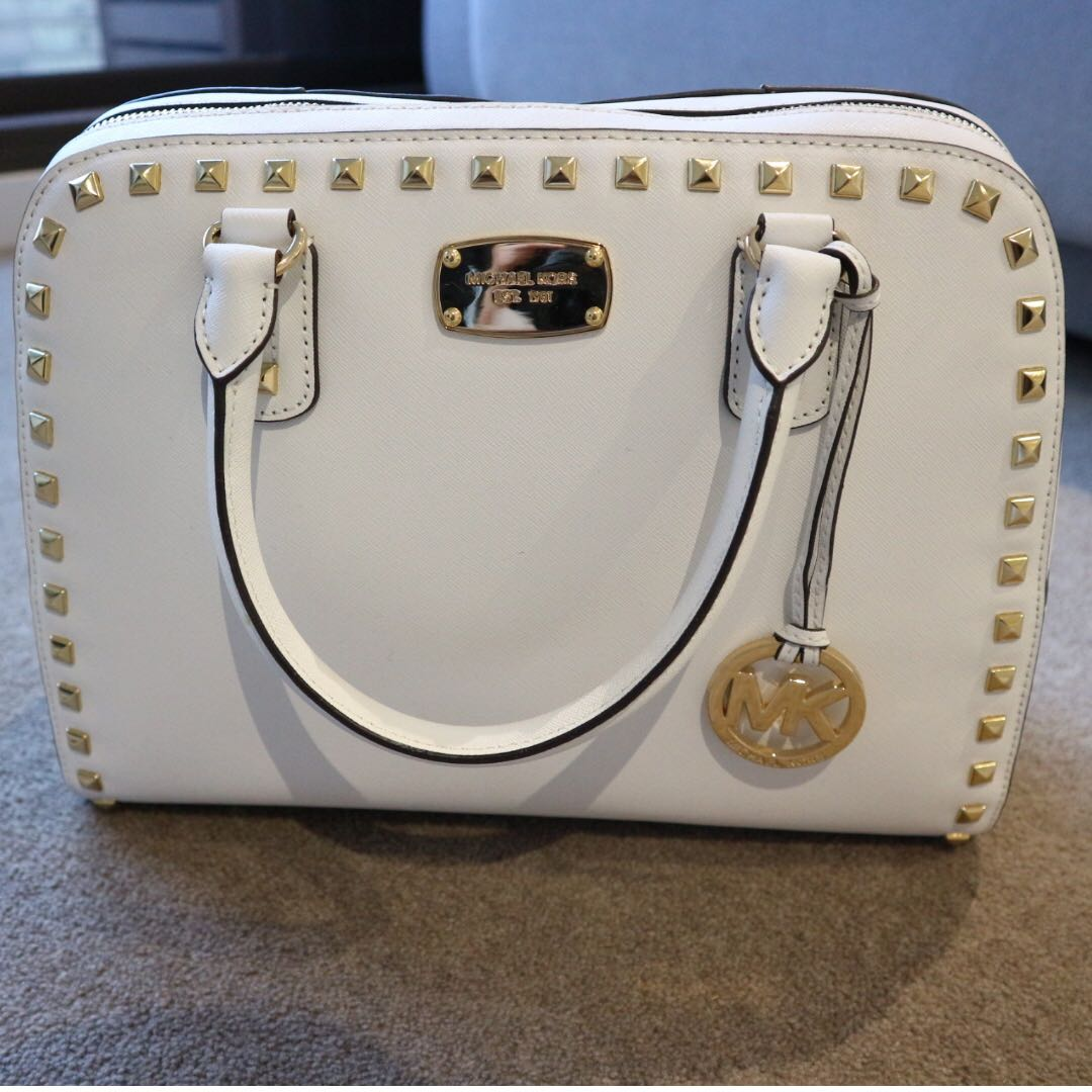Michael Kors Saffiano Stud Large Leather Satchel in Optic White