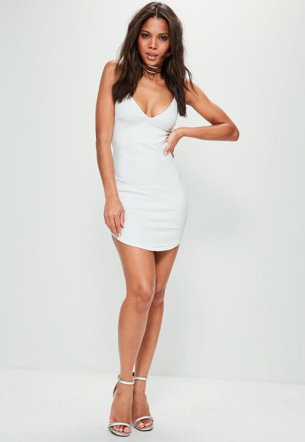 MISGUIDED WHITE BODYCON PARTY DRESS